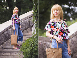 Julia F. - Asos Necklace, Pull & Bear Denim Culottes, Parfois Straw Bag, Zara Mules - Denim culottes & ruffle top