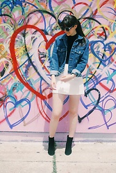 Danielle F - Brandy Melville Usa Denim Jacket, Zara Skirt, Sam Edelman Ankle Boots - The Love Wall