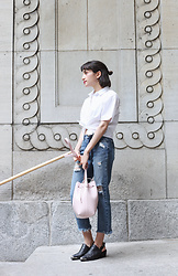 Samia Liamani - Min&Mia Silver Hoops, Daily Monday Distressed Boyfriend Jeans, E8 By Miista Dido Shoes, Mansur Gavriel Bucket Bag - WBD - White Button Down
