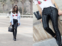 Vivi Valenzuela - Diy Topshop Roses T Shirt, Lace Up Pants, Calvin Klein Bag - IS IT SPRING YET?