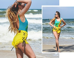Iwona - Deesem Denim Shorts, Vintage One Piece Swimsuit - YELLOW SUBMARINE