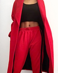 Kat Smith - Zara Red Track Pants, Zara Red Coat, Forever 21 Black Crop Top - R E D