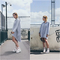 Lbtw_ - New Look Black Choker, Romwe White Socks, Missguided White Platform - Very long comfy hoodie