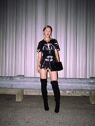 Katie Van Daalen Wetters - Wear All Acid Wash T Shirt Dress, Wear All Black Lace Up Corset, Lulu*S Black Thigh High Boots, Saint Laurent Sac De Jour Nano - It's A Vibe