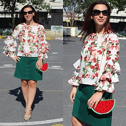 Rebel Takipte - Lovelywholesale Watermelon Bag, Zaful Floral Top - Watermelon