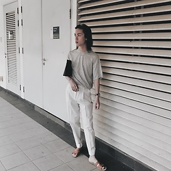 Sean Sadie Tham - Zara T Shirt, Loewe Clutch, Mango Pants - The Whatever Look