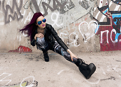 Irina Petrova - Black Milk Clothing Mecha Leggings, Kari Sunglasses, Lost Ink Black Boots - District 9
