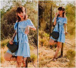Diana Fontes - Makemechic Ruffle Off The Shoulder Dress, Nicolelee Greenery Bag, Shein Gladiator Sandals - Blue summer dress