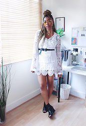 Lavinya Royes - Asos Yellow Sunglasses, Pretty Little Thing Dress, Asos Western Belt, H&M Open Toe Boots - SUMMER LOVIN'