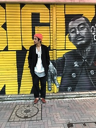 Hideki. Mn - Vintage Beanie, Comme Des Garçons Jacket, Unused Leather Vest, Bukht Shirt, Bukht Wide Jeans Pants, Padrone Leather Sandal - Japanese fashion 24