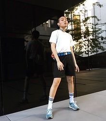 Jay Zhong - H&M T Shirt, H&M Shorts, Adidas Belt, Adidas Socks, Nike Shoes, Adidas Key Chain Choker - Daily look