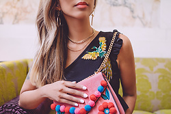 Eliza Romero - Forever 21 Gold Jewelry, Missguided Peacock Frilled One Shoulder Crop Top, Skinnydip Pink Crossbody Bag W/Pom Pom Details - Hotel Monaco Details