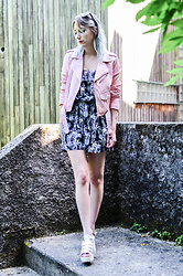 Saskia B. - Gémo Pineapple Playsuit, Zara Leather Jacket - Pineapple