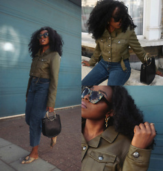 Remi Afolabi - Missguided Cropped Jacket, H&M Sunglasses, H&M Slip On Mules, Forever 21 Bag, Vintage Jeans - Gone with the wind