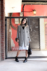 Day Ji - Love Me Back Jacket, Bibyseob Dress, &Other Stories Boots - Check and pleats