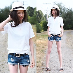 Claire H - Panama Hat, Calvin Klein Shirt, Tally Weijl Jeans Shorts - Let the summer come with these essentials