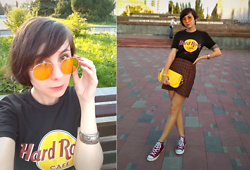 Jane V.I. - Hard Rock Cafe Instanbul T Shirt, Converse Sneakers, Mango Plaid Skirts, Yellow Rounf - How to wear yellow bag: part 2