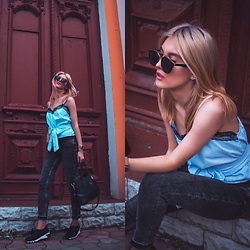 Vlada Avornic - Amma Shoes Sneakers, Sofi&Co Shop Top, Zara Jeans, Zaful Bag, Gamiss Sunglasses - Bow sneakers
