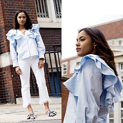 Lauren Francine Campbell - Stradivarius White Jeans, Topshop Adele Bow Slip Ons, H&M Blue Ruffle Blouse - It's All In The Detail