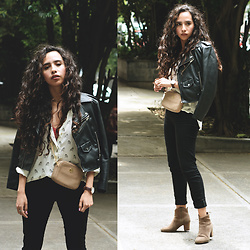 Attalia DASBEL - Zara Leather Jacket (Faux), Michael Kors Bag, Levi's® Jeasn, Zara Blouse - FOR THE SUMMER RAIN