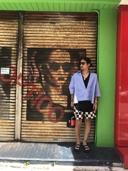 Hideki. Mn - Oliver Peoples Sunglass, Syu.Homme/Femm Ero Neck Type Writer Shirts, Auguste Presentation Tank Top, Children Of The Discordance Checkered Flag Pattern Shorts, Ponds Yuimarubag, Cmmn Swdn Sandal - Japanese fashion 26