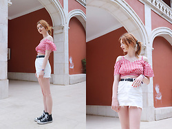 Hannah Louise - Topshop White Denim Skirt - Red Gingham