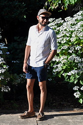 Hector Diaz - Abercrombie & Fitch Pull On Twill Shorts, Allsaints Half Sleeved Shirt, H&M Hat, Sperry Topsider Boat Shoes, Swatch Watch, Burberry Shades - Naval Summer