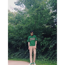 Martin Roh - Gentle Monster Green Tinted Sunglasses, Converse Green Sneakers - Green