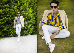 Ronan Summers - Ace And Tate Allen Sunglasses, Timex Weekender Watch, Kurt Geiger Phoenix White Trainers, Reiss Beige Trousers, Hawes And Curtis Striped Shirt - Chic Summer Vibes
