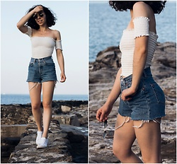 Theoni Argyropoulou - Off The Shoulder Crop Top, Levi's® Denim Shorts, H&M Sneakers, Pull & Bear Sunglasses - Summer Lookbook on somethingvogue.com
