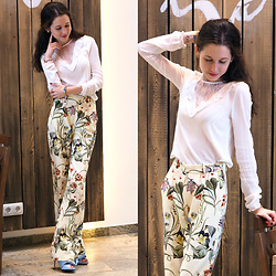 Claire H - H&M White Blouse, Zara Palazzo Pants, N°21 Mules - Tropical pants