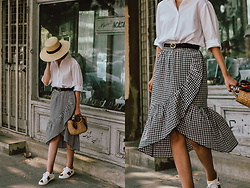 Andreea Birsan - Mini Straw Bag, Acea Heart Embroidered White Sneakers, Gingham Midi Skirt, Gucci Belt, Oversized White Button Down Shirt, Straw Boater Hat - The white shirt that goes with everything in your wardrobe