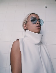 Celine Nguyen - Asos Cateye Blue Seethrough Sunglasses, House Of Sunny Turtleneck Top - This is my happy face