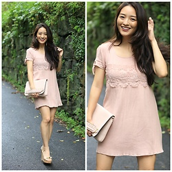 Kimberly Kong - Almost Famous Shift Dress, Kate Spade Wedges - Chic in Beige & Blush