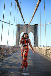 Christian Riley - Nasty Gal Striped Jumpsuit, Mahps Vintage Mirrored Sunnies, Delicate Raymond Jewelry Vintage Belt - Brooklyn Stripes