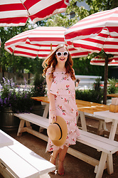 Ashley Hutchinson - Shein White Sunglasses, Alice And Wonder Pink Floral Midi Dress, Forever 21 Boater Hat - Blush Summer Florals