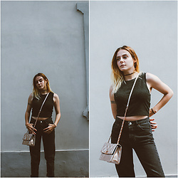 Lbtw_ - Asos Goldpink Bag, Pull & Bear Black Mom Jeans, Romwe Black Choker - BLACK IS BACK (FEAT GOLDPINK)
