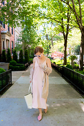 Ashley Hutchinson - Pink Cashmere Cardigan, Everlane Blush Slip Dress, Everlane Blush Pointed Mules, Everlane White Tote Bag, White Sunglasses - Blush Basics for Summer