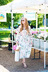 Ashley Hutchinson - Shein Floral Midi Dress, Crocs Waterproof Sandals, Everlane White Tote - Farmer's Market Florals