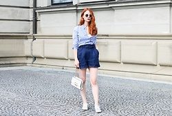 Katharina K. - Mango Shorts, Scotch & Soda Blouse - Striped Blouse and High-Waist Shorts