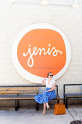 Ashley Hutchinson - Zara White Blouse, Shein Blue Gingham Midi Skirt, Target Nude Heeled Sandals, Victoria Beckham Orange Tote - Blue Gingham & Persimmon
