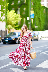 Ashley Hutchinson - Burgundy Floral Maxi Dress, Stuart Weitzman Cork Sandals, Free People Basket Bag - Burgundy Floral Maxi Dress