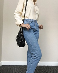 Kat Smith - Gap Pale Yellow Button Down, American Apparel Jeans, Forever 21 Black Purse - The Classic