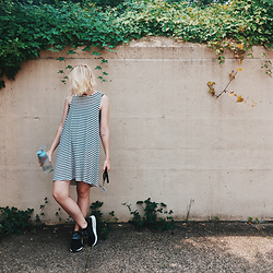 Jenny C. - Adidas Nmd Sneakers, Romwe Dress (Similar) - Stripes