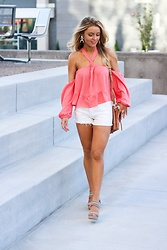 Amber Wilkerson - Windsor Top, 7 For All Mankind Shorts, Michael Kors Heels, Sugarfix By Bauble Bar Earring, Free People Bag - Coral Tropic Babe Top