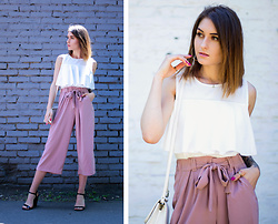 PASHIOON - New Look Powder Pink Culotte, Zara White Top, New Look Black Sandals - Powder pink culotte.