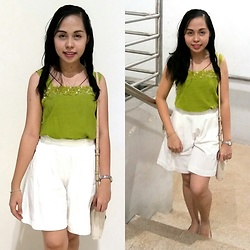 Honey Frauline - Chartreuse Top, White Culottes, Guess? Cream Shoulder Bag, Beige Flats - Repeat