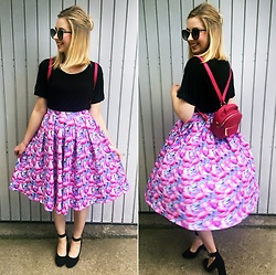 Matylda - Diy Skirt, New Look Little Backpack, New Look Shoes - Flamingo attack & little backpack