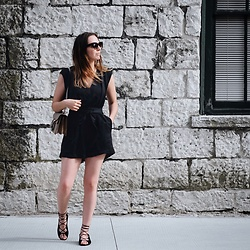 Morgan Schadegg - Helmut Lang Romper, Saint Laurent Shoes - Thrifted romper