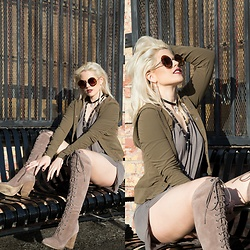 Caitlyn Sway - Army Green Jacket, Grey Suede Boots, Round Sunglasses - Net Neutral